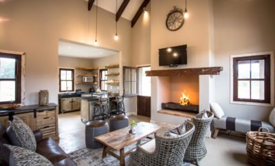 Garden Route Villa : Villa-5-lounge-with-fireplace